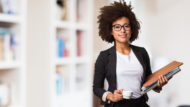 Business Woman Holding Coffee Files Employee Worker