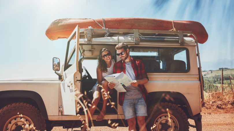 Couple Going On Roadtrip With Jeep Vintage Kayak Summer Desert