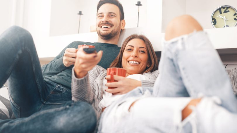 Couple Watching Tv Date Relaxing