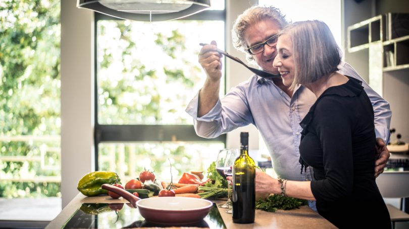 Elderly Couple Cooking Together Kitchen Romantic Meal