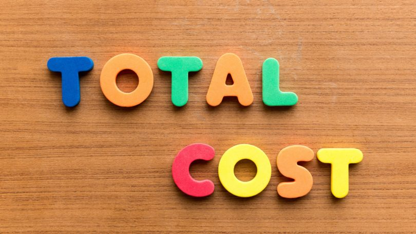Total Cost Colorful Letters Wooden Table