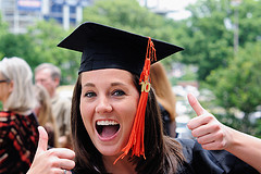 Graduating girl with cap