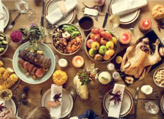 Thanksgiving Dinner Table Aerial View Turkey Vegetables Family