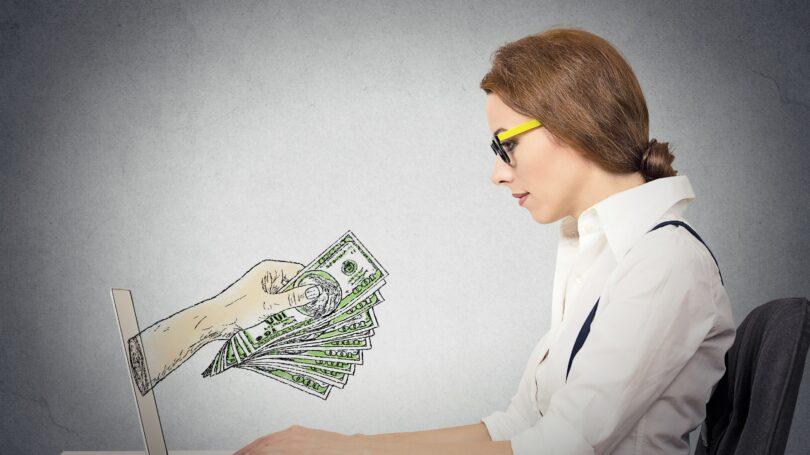 Cash Computer Woman Glasses