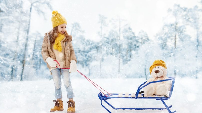 Girl Playing In Snow Dragging Sled Stuffed Animal