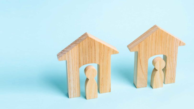 Neighbors Two Adjacent Homes Wooden Figurines