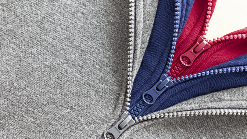 Three Layers Of Sweatshirts Sweater Red Blue Grey Zipper
