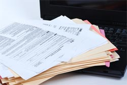 1099 tax forms stack computer