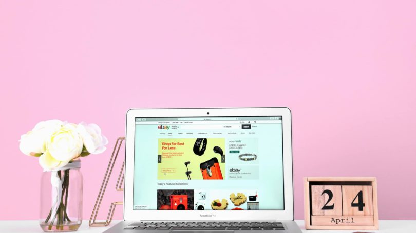 Ebay Website Laptop Listings Table Pink