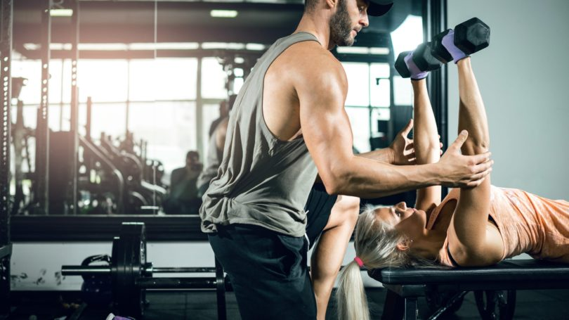 Fitness Instructor Dumbbells Press Bench
