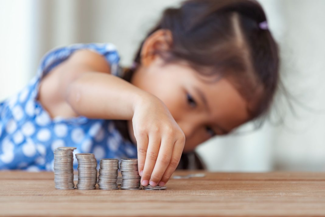 Girl Toddler Counting Stacking Coins