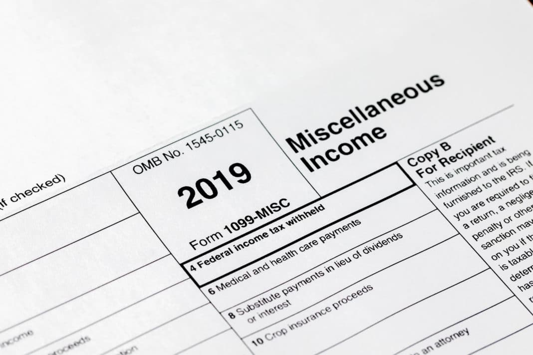 Irs Form 1099 Misc Miscellaneous Income