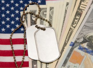 Military Pension Pay American Flag Tags Cash