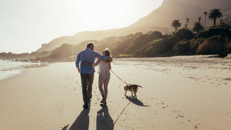 Retirement Couple Walking Into The Horizon Beach Sand Dog