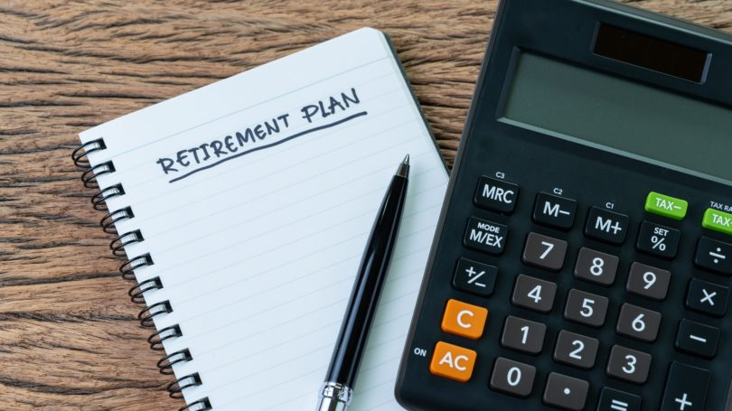 Retirement Planning Notepad Calculator Crunching Numbers