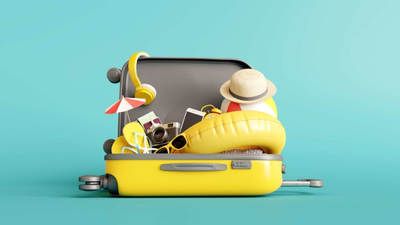 Travel Packing Yellow Suitcase Inflatable Float Tropical Vacation Hat