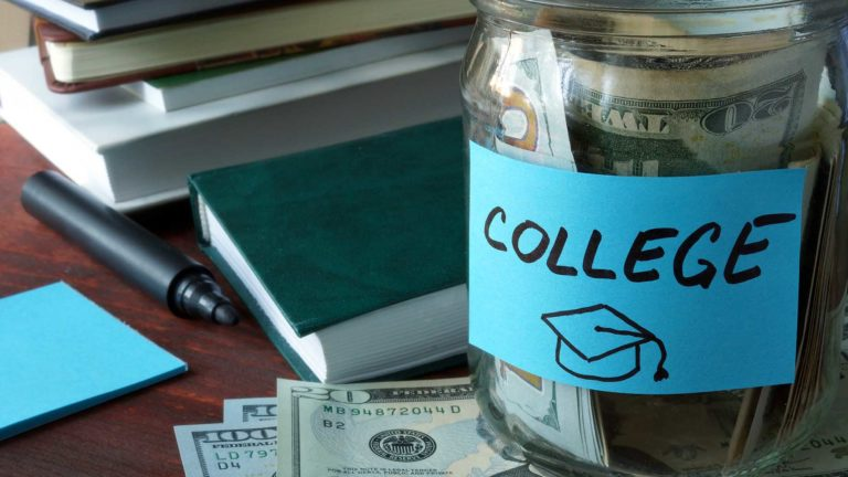 jar with label college and money on the table