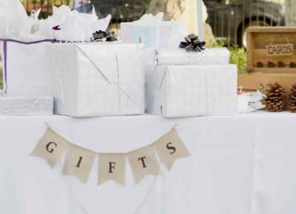 several gifts for couple wrapped on the table