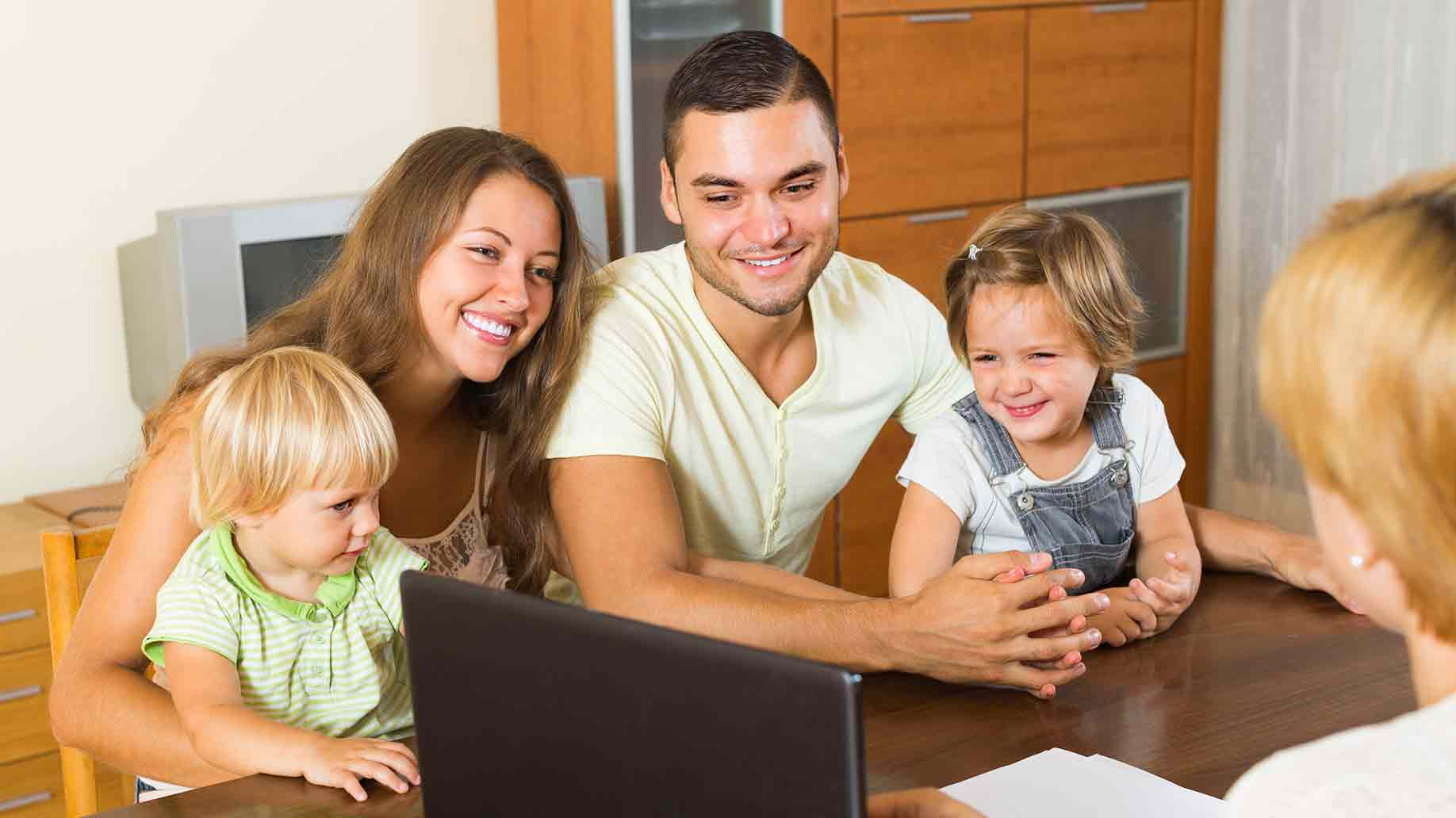 insurance agent consulting to a family