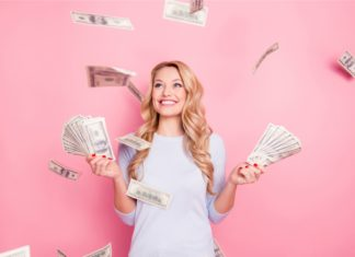Woman With Lots Of Cash Flying Around