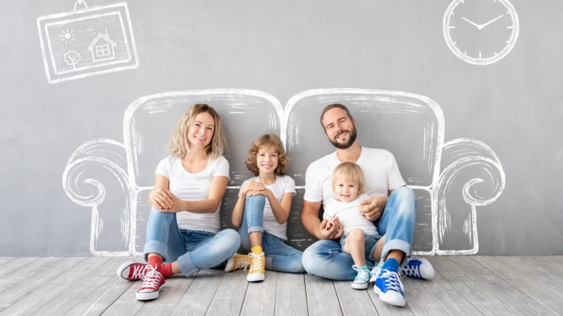 Family Sitting On Livingroom Happy For Home Furniture
