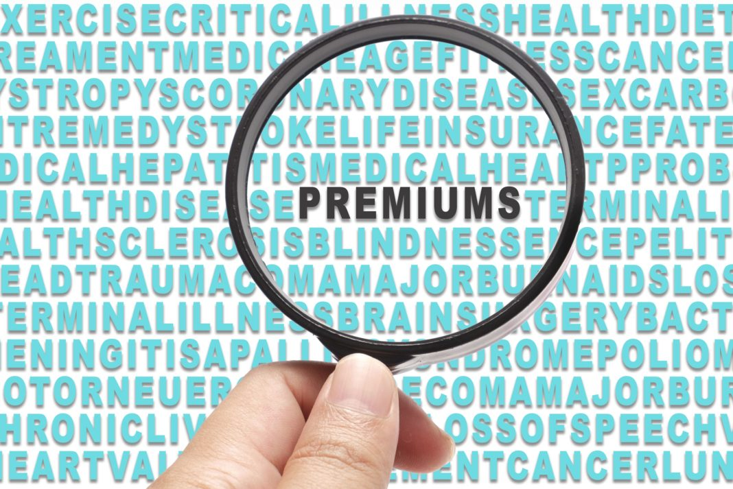 Health Insurance Premiums Magnifying Glass Focus