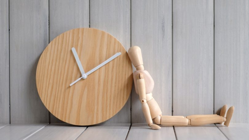 Wooden Model Clock Long Wait Concept Time Is Ticking
