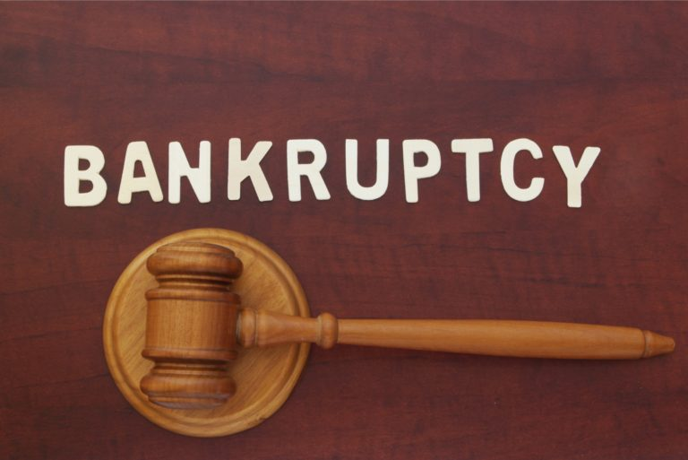 Bankruptcy Concept Wooden Gavel Judge Court Debt