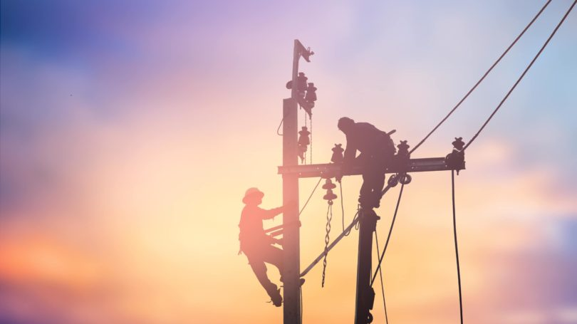 Electric Line Installer Silhouette Sunset Telephone Pole