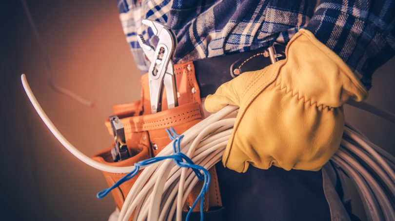 Electrician Gloves Holding Wires Tool Belt Installation