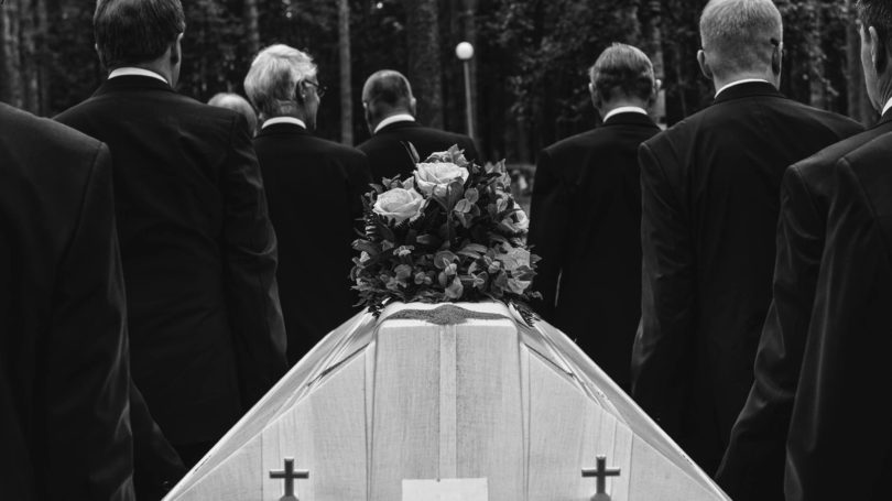 Funeral Service Casket Black White Men In Black Suits