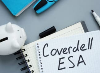 Coverdell Esa Education Saving Account. Note Pad And Piggy Bank.