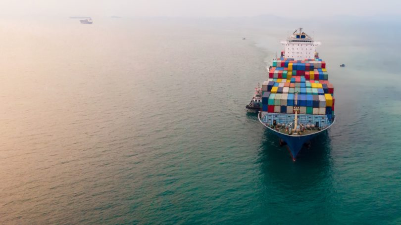 Water Transportation Aerial Cargo Ship Carrying Contairs Of Imported Goods Ocean