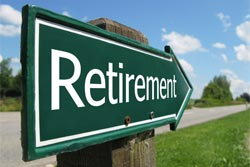 retirement arrow sign