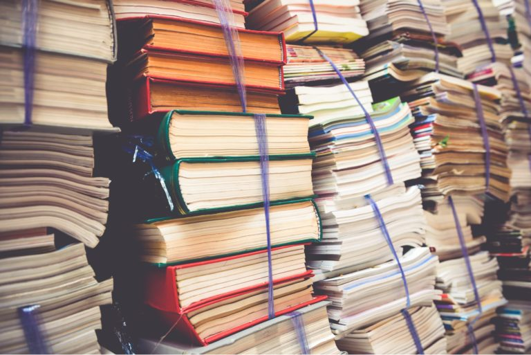 Old Books Piled For Donation