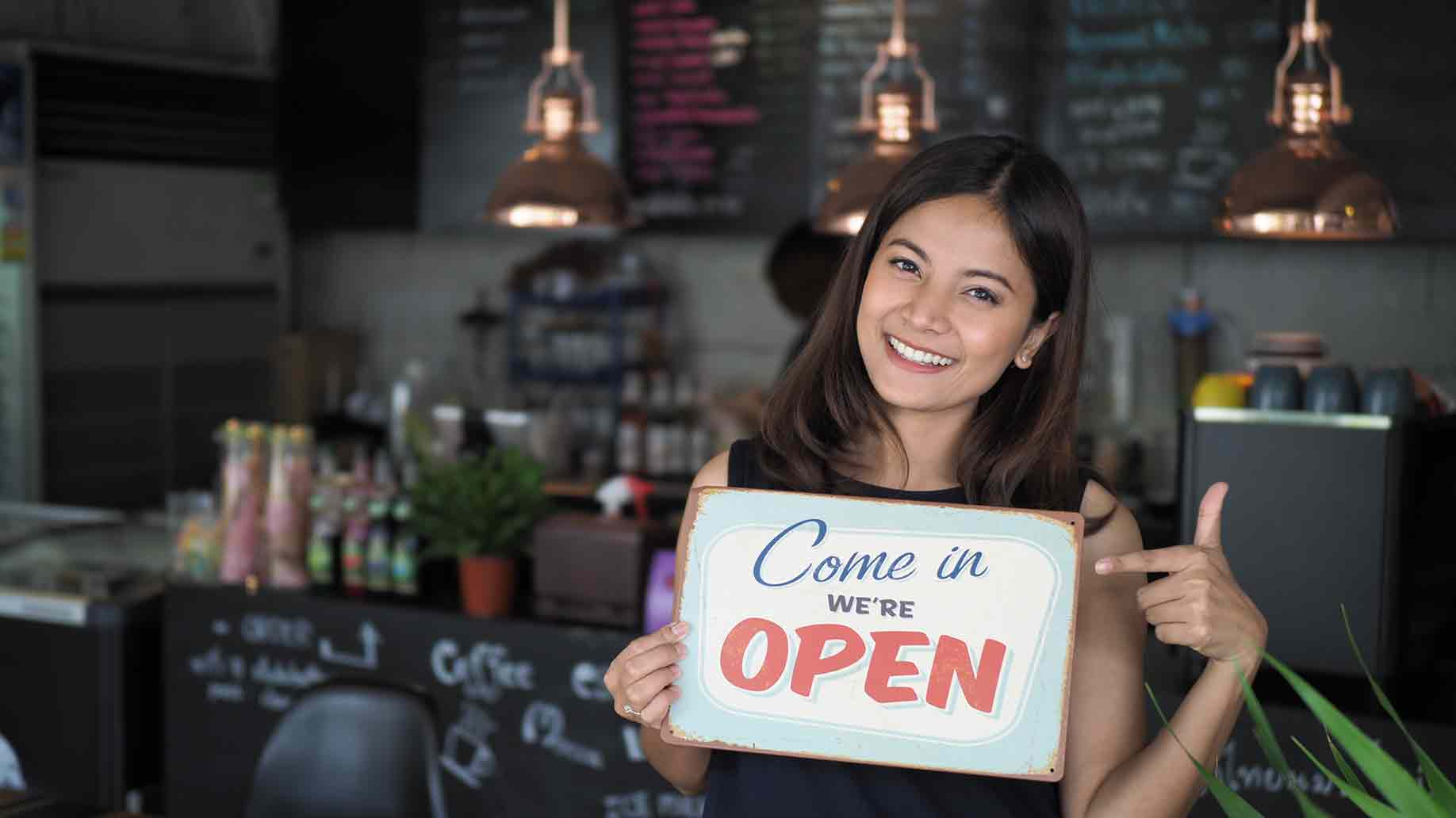 asian woman open sign coffee shop