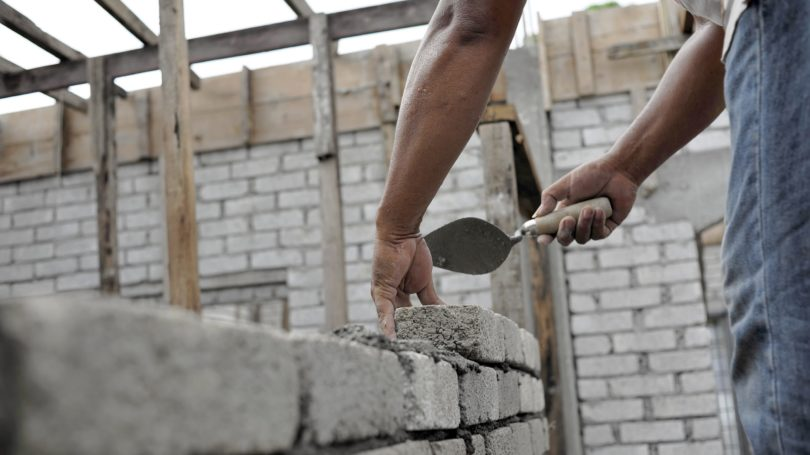 Cement Brick Masonry Worker Building Home