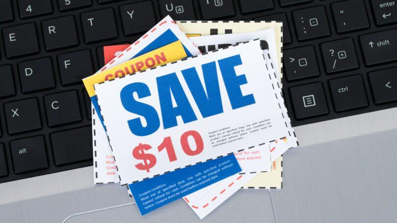 Coupons Saving Voucher On Keyboard