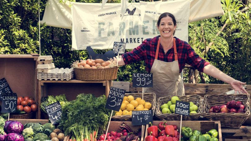 Farmers Market Grocer Selling Fresh Produce