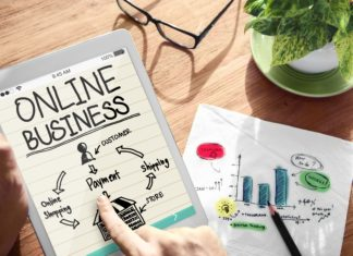 Online Business Tablet Graphs Financial Planning Strategy