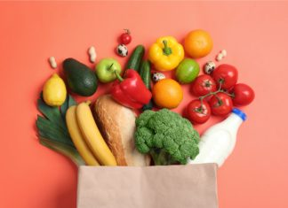 Paper Bag Filled With Groceries Produce Bread Milk