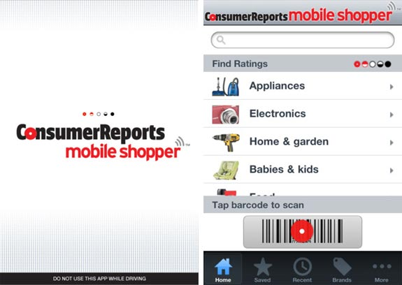 consumer reports mobile shopper screenshot