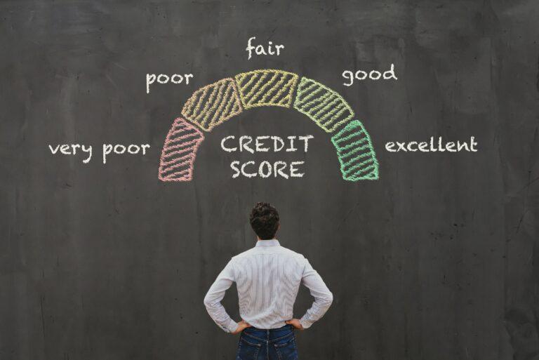 Credit Score Ranges Chalkboard Man