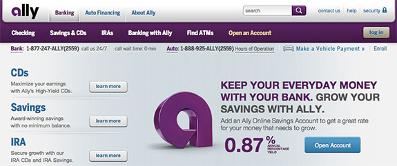 ally bank screenshot