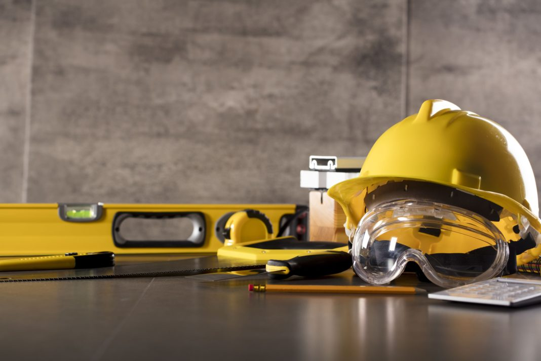 Builder Contractor Helmet Goggles Tools