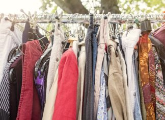 Clothes On Rack Flea Market Donation Garage Sale