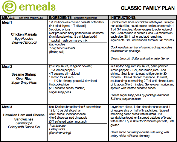 emeals classic meal plan