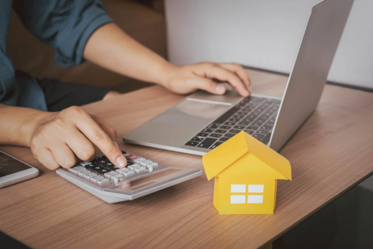 House Model Calculator Laptop Budgeting Financing Mortgage Rent