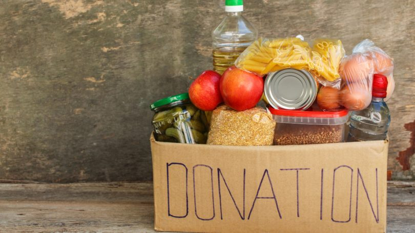 Donation Box Of Food Pantry Items Cooking Charity