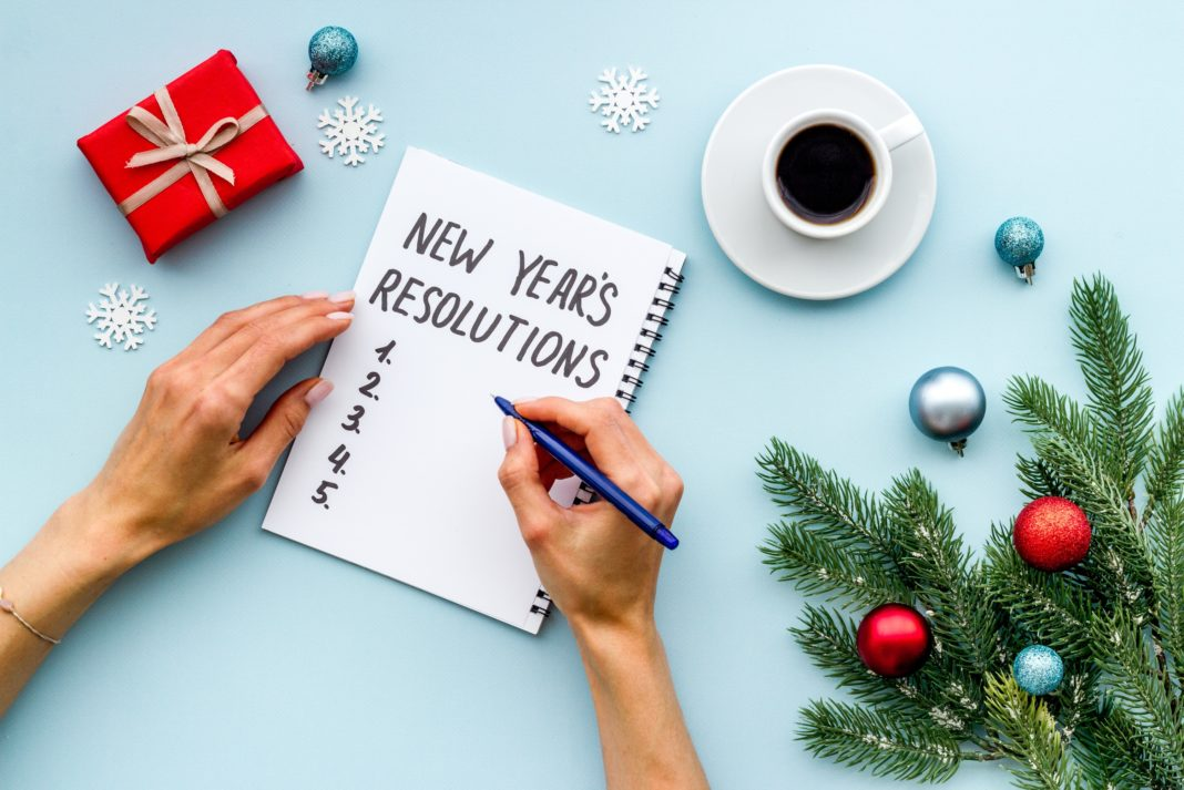 New Years Resolution List Goals Christmas Tree Holiday Decoration